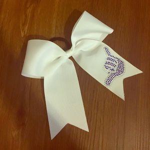Stingray Allstars White and Purple Cheer Bow